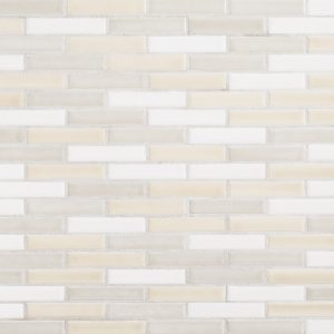 A beige / cream ceramic mosaic brushwork tile by Jeffrey Court.