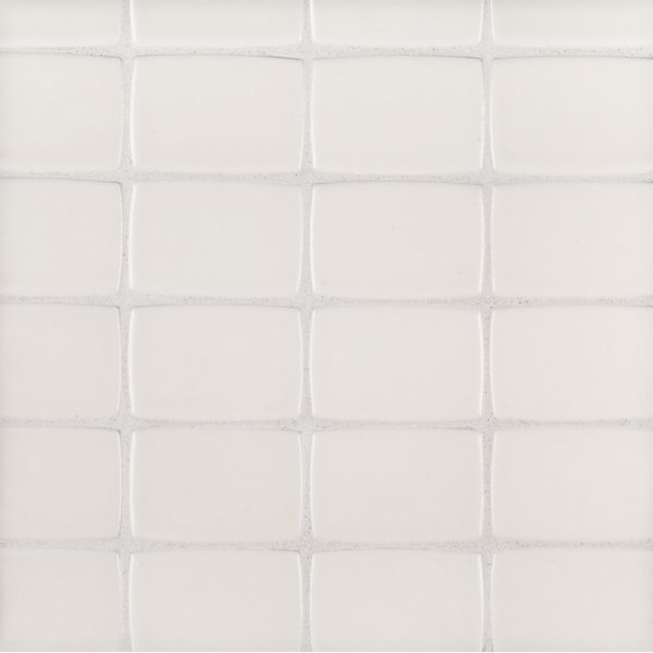 A beige / cream ceramic mosaic retro tile by Jeffrey Court.