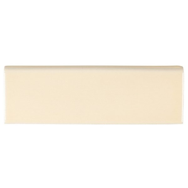 A beige / cream ceramic trim single bullnose tile by Jeffrey Court.