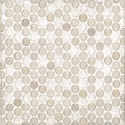 """A beige / cream glass mosaic 3/4"""" penny round tile by Jeffrey Court."""