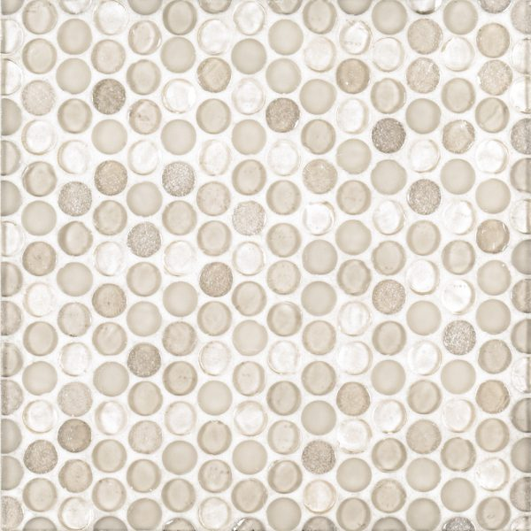 "A beige / cream glass mosaic 3/4"" penny round tile by Jeffrey Court."