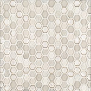 "A beige / cream glass mosaic 5/8"" hex tile by Jeffrey Court."