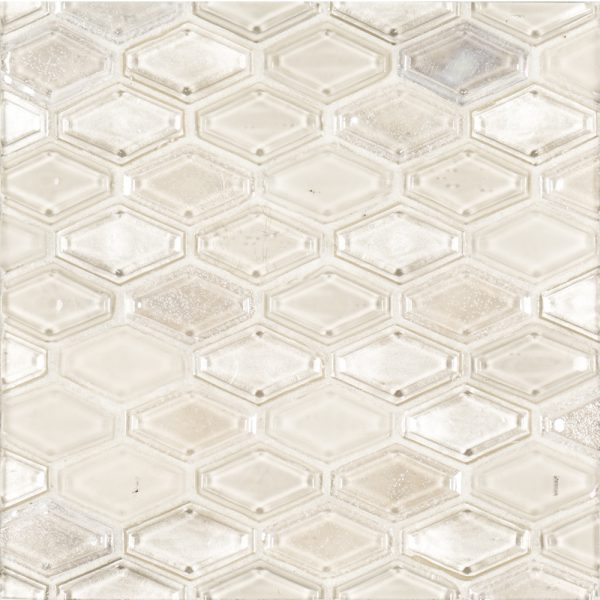 A beige / cream glass mosaic beveled elongated hex tile by Jeffrey Court.