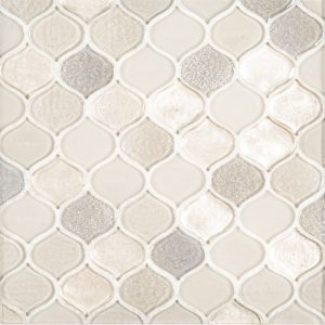 A beige / cream glass mosaic droplet tile by Jeffrey Court.
