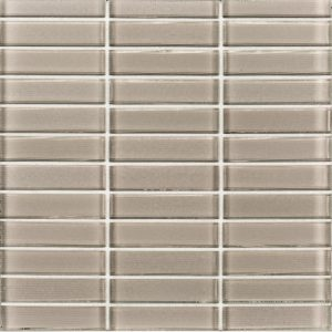 A beige / cream glass mosaic hue stack glass tile by Jeffrey Court.