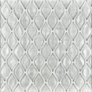 A beige / cream glass mosaic petal glass tile by Jeffrey Court.