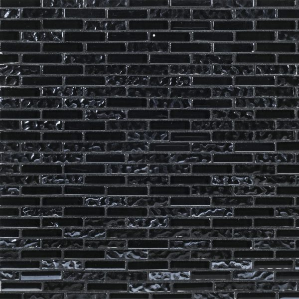 A black glass mosaic glisten tile by Jeffrey Court.