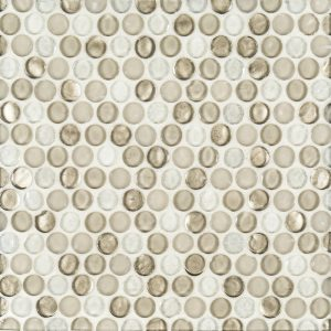 "A brown glass mosaic 3/4"" penny round tile by Jeffrey Court."
