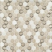 """A brown glass mosaic 5/8"""" hex tile by Jeffrey Court."""