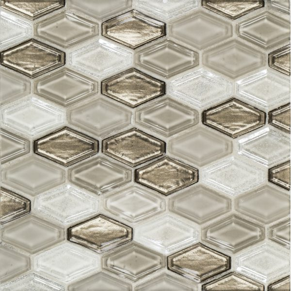 A brown glass mosaic beveled elongated hex tile by Jeffrey Court.