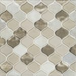 A brown glass mosaic droplet tile by Jeffrey Court.