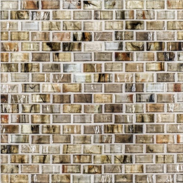 A brown glass mosaic studio glass tile by Jeffrey Court.
