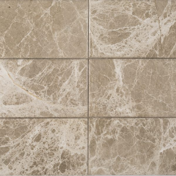 A brown natural stone beveled field tile by Jeffrey Court.