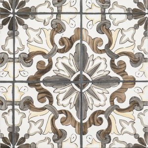 A brown terra cotta decorative element lisbon 4-piece pattern tile by Jeffrey Court.