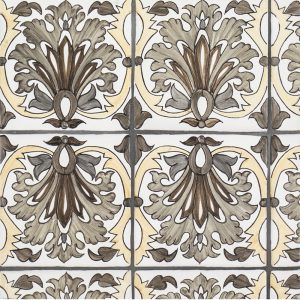 A brown terra cotta border/listello litoral pattern tile by Jeffrey Court.