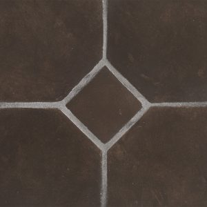 A brown terra cotta octagon field tile by Jeffrey Court.