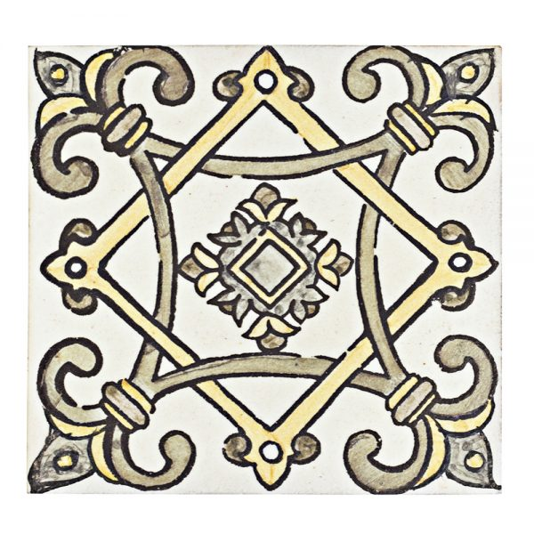 A brown terra cotta decorative element san leandro tile by Jeffrey Court.