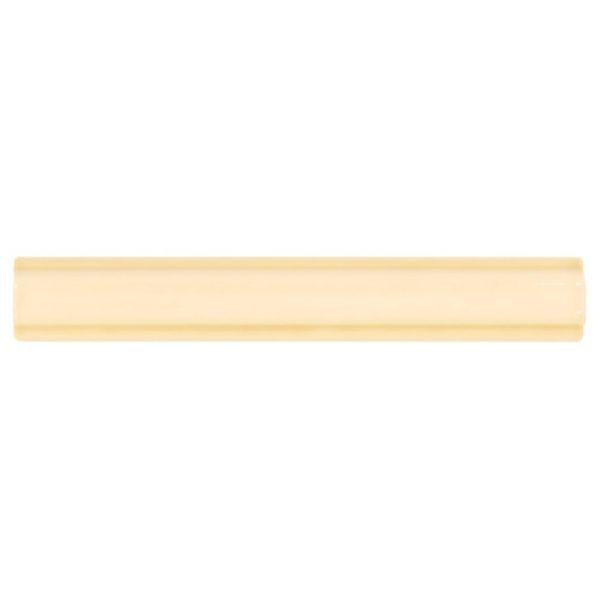 A gold / yellow ceramic architectural mouldings rail moulding tile by Jeffrey Court.
