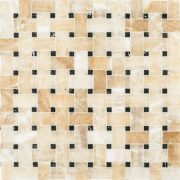 A gold / yellow natural stone mosaic basket weave tile by Jeffrey Court.