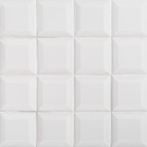 A grey ceramic beveled field tile by Jeffrey Court.