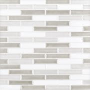 A grey ceramic mosaic brushwork tile by Jeffrey Court.