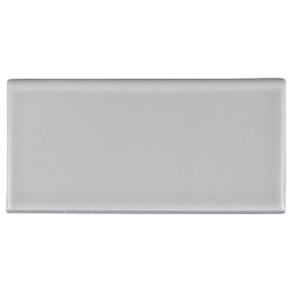 A grey ceramic trim single bullnose tile by Jeffrey Court.