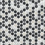 """A grey glass mosaic 3/4"""" penny round tile by Jeffrey Court."""