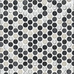 "A grey glass mosaic 3/4"" penny round tile by Jeffrey Court."