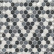 """A brown glass mosaic 3/4"""" penny round tile by Jeffrey Court."""
