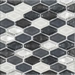 A grey glass mosaic beveled elongated hex tile by Jeffrey Court.