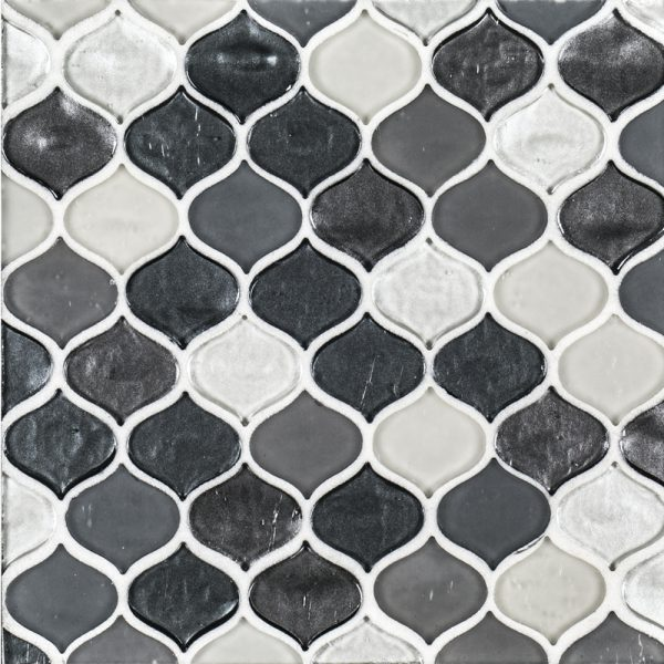 A grey glass mosaic droplet tile by Jeffrey Court.