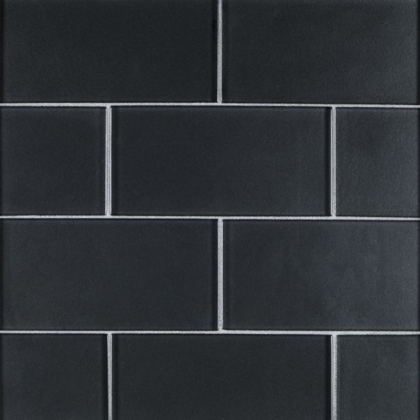 A grey glass field tile by Jeffrey Court.