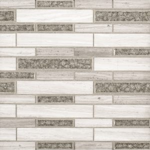 A grey natural stone mosaic benevolent blend tile by Jeffrey Court.