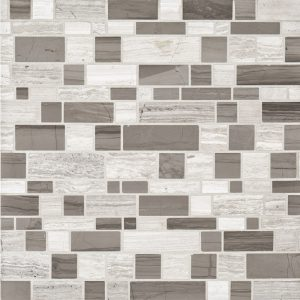 A grey natural stone mosaic moderna pattern tile by Jeffrey Court.