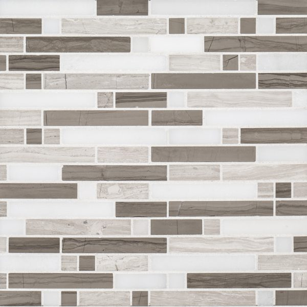 A grey natural stone mosaic modish pattern tile by Jeffrey Court.