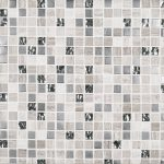 A grey natural stone mosaic platinum pattern tile by Jeffrey Court.