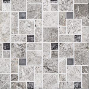 A grey natural stone mosaic winward plains tile by Jeffrey Court.