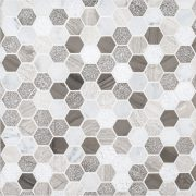 """A multi-specialty natural stone mosaic 1"""" hexagon tile by Jeffrey Court."""