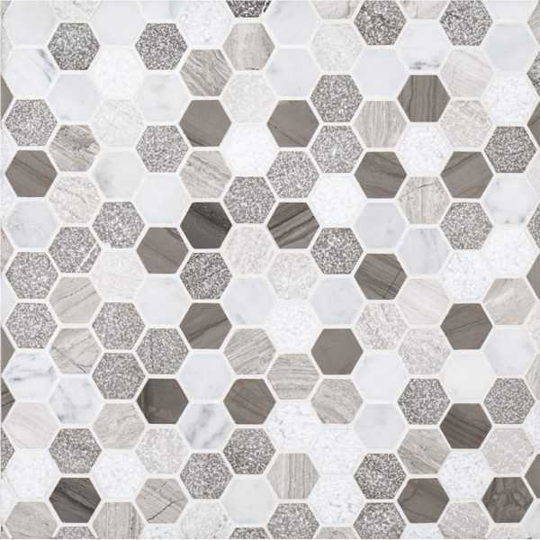 "A multi-specialty natural stone mosaic 1"" hexagon tile by Jeffrey Court."