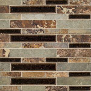 A multi-specialty natural stone mosaic benevolent blend tile by Jeffrey Court.