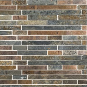 A multi-specialty natural stone mosaic copper mine tile by Jeffrey Court.