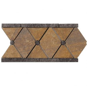 A multi-specialty natural stone border/listello empire tile by Jeffrey Court.