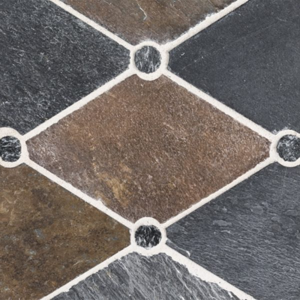 A multi-specialty natural stone mosaic empire tile by Jeffrey Court.