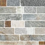 A multi-specialty natural stone mosaic fire & ice brick tile by Jeffrey Court.