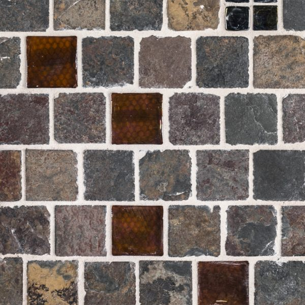A multi-specialty natural stone mosaic fire & ice square tile by Jeffrey Court.