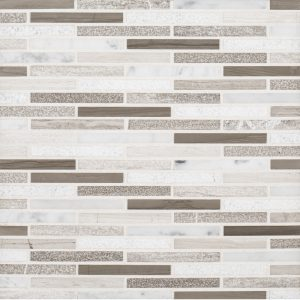 A multi-specialty natural stone mosaic lustrous tile by Jeffrey Court.