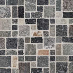 A multi-specialty natural stone mosaic rustic sienna tile by Jeffrey Court.