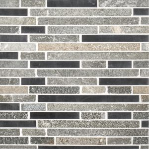 A multi-specialty natural stone mosaic silver mine tile by Jeffrey Court.