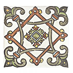 A red / green terra cotta decorative element san leandro tile by Jeffrey Court.