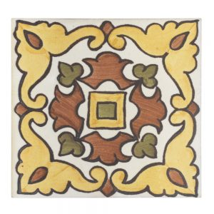 A red / green terra cotta decorative element san simeon tile by Jeffrey Court.